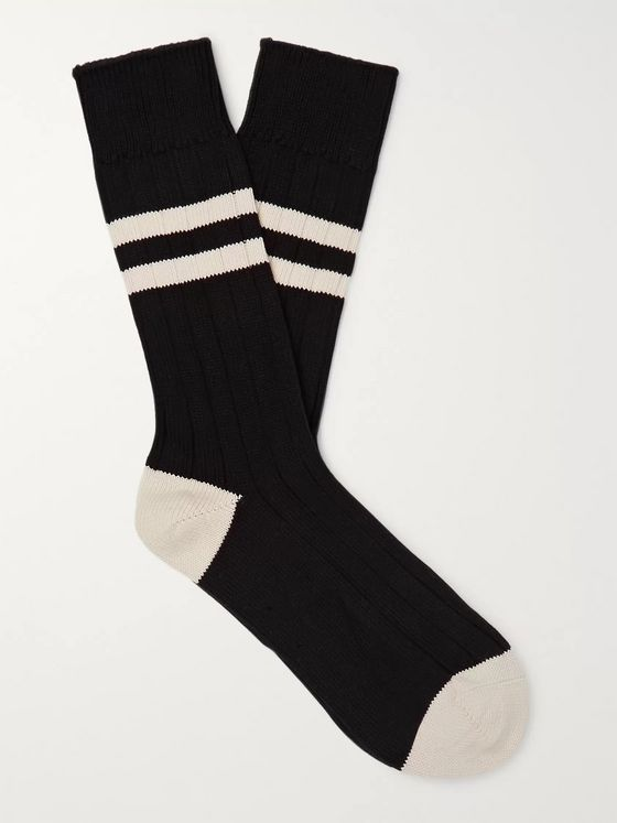 The Workers Club Ribbed Striped Melangé Cotton-Blend Socks