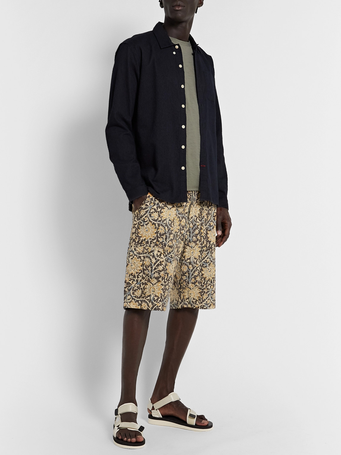 The Workers Club Paisley-print Brushed-cotton Shorts In Neutrals
