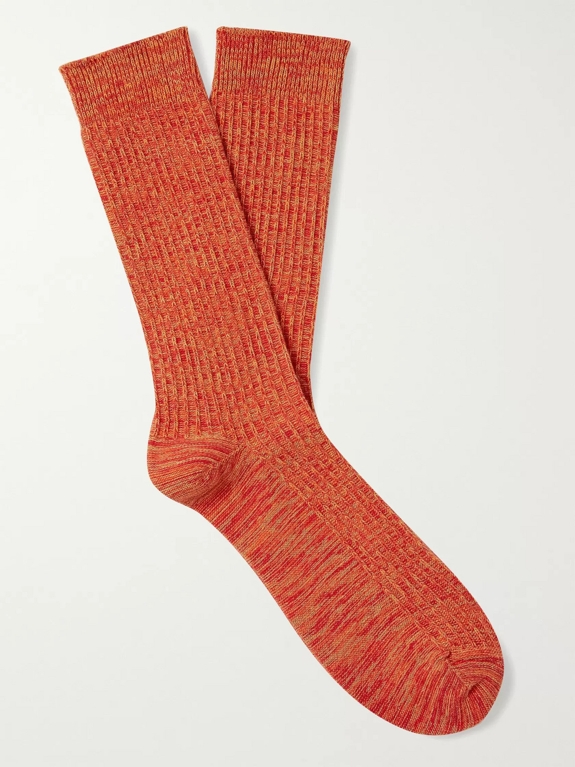 The Workers Club Mélange Ribbed Cotton-blend Socks In Orange