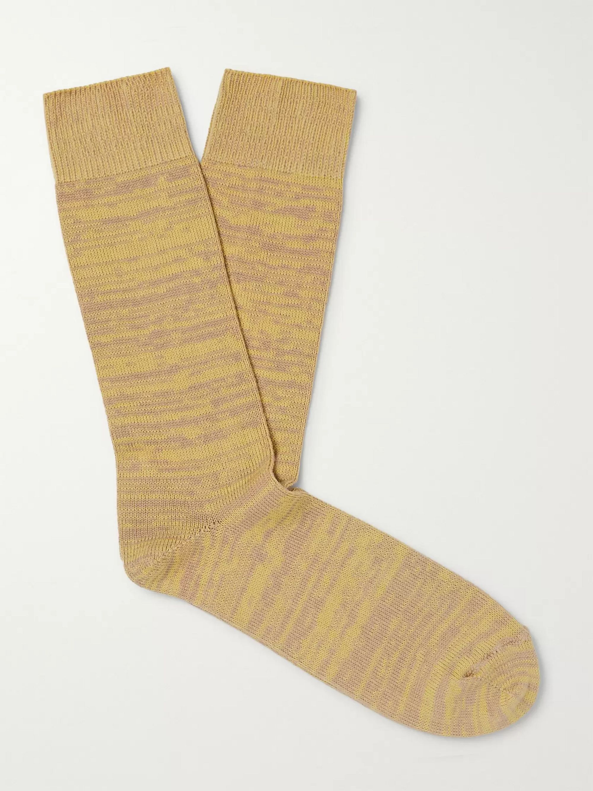 Yellow Melangé Cotton-blend Socks   The Workers Club