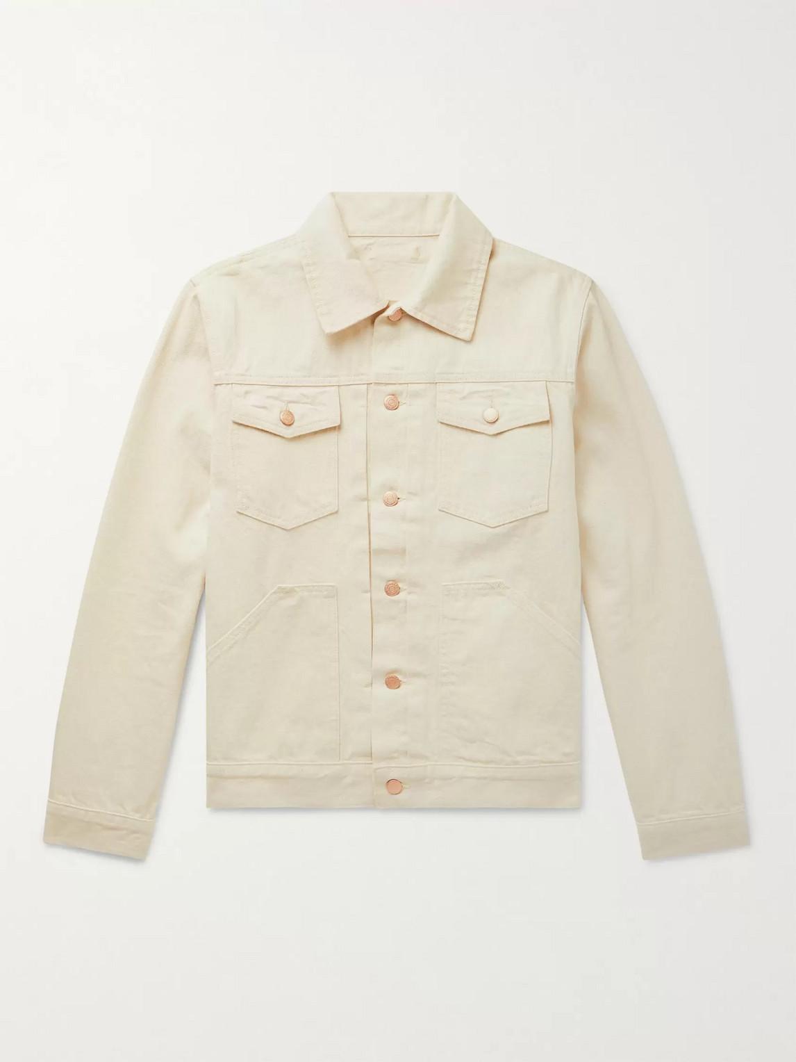 The Workers Club Selvedge Denim Jacket In Neutrals
