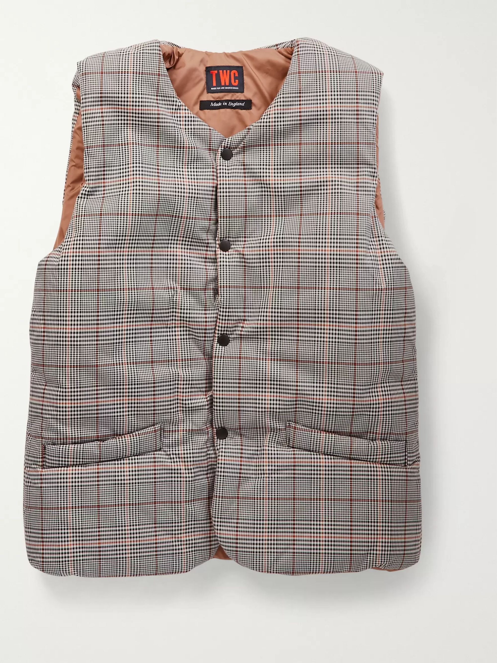 The Workers Club Checked Padded Cotton-Twill and Shell Gilet