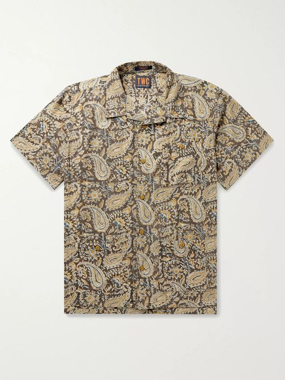 The Workers Club Camp-Collar Printed Cotton Shirt