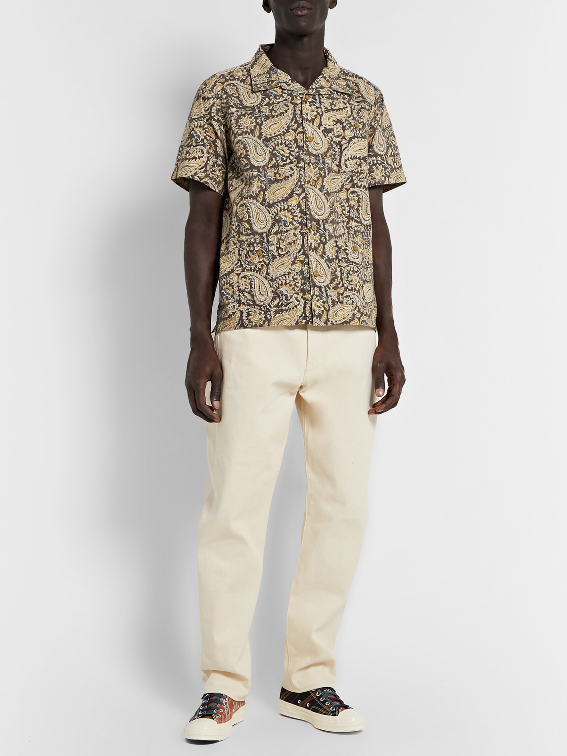 The Workers Club Camp-collar Printed Cotton Shirt In Neutrals
