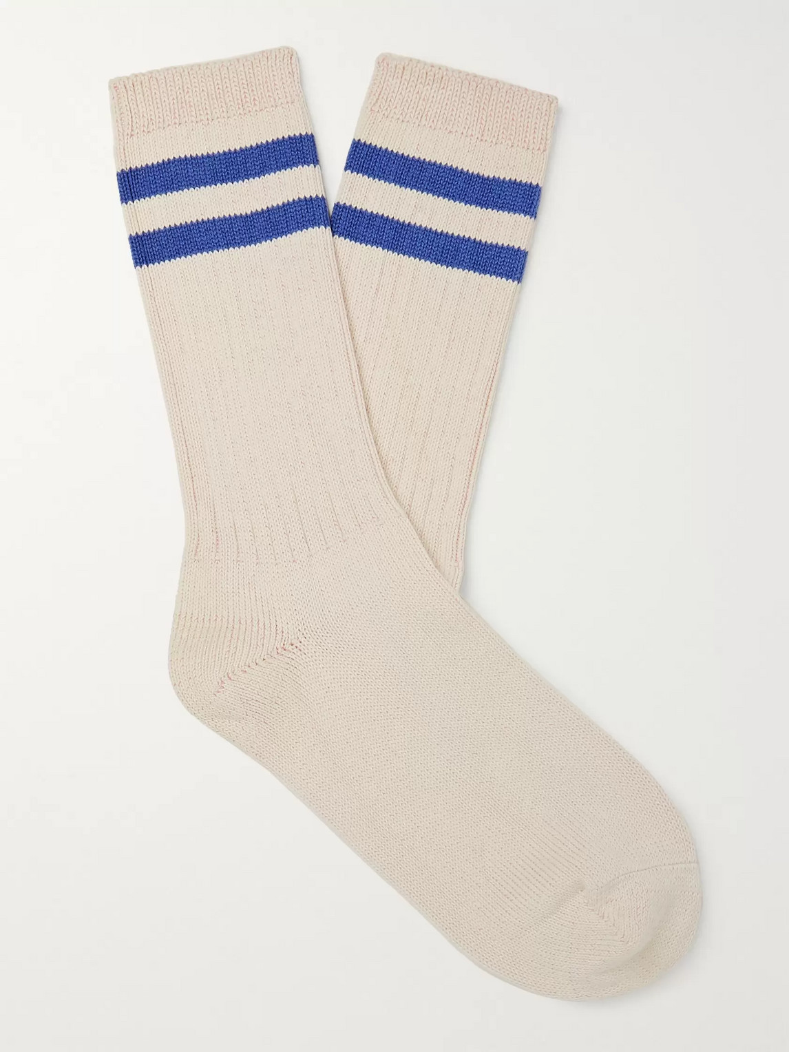 The Workers Club Ribbed Striped Melangé Cotton-blend Socks In Neutrals