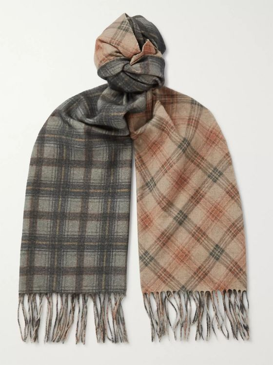 Dries Van Noten Fringed Checked Wool and Cashmere-Blend Scarf
