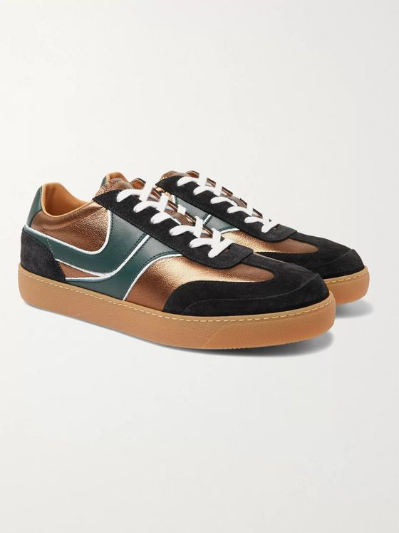 Dries Van Noten Panelled Suede and Leather Sneakers