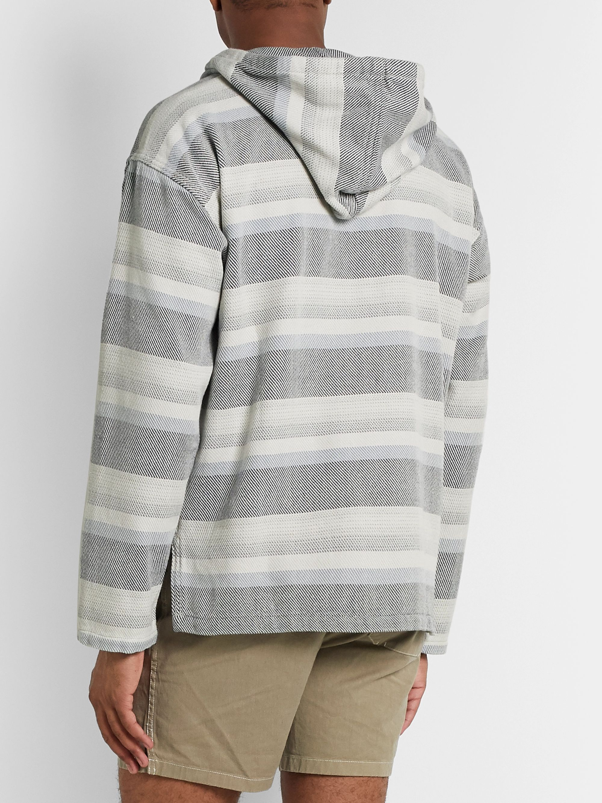 Outerknown Striped Organic Cotton-Jacquard Hooded Sweater