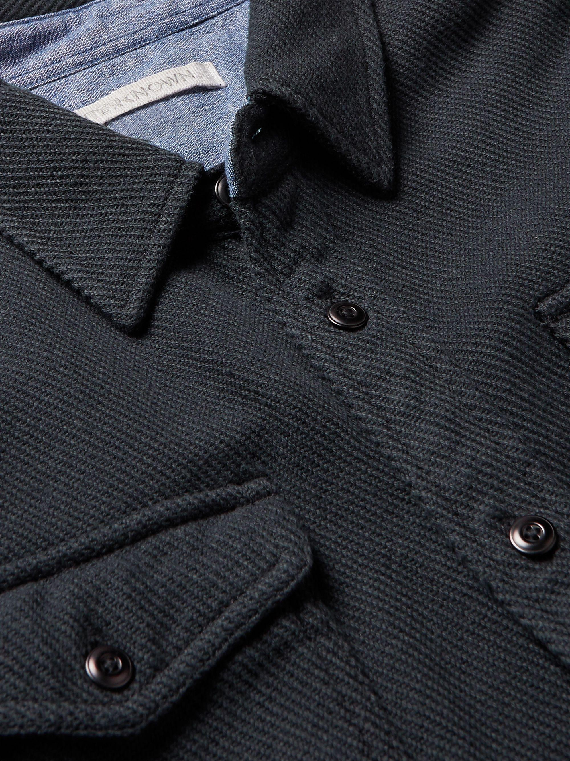 Black Blanket Appliquéd Organic Cotton-twill Overshirt   Outerknown