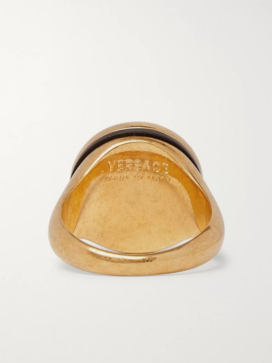 Versace Gold-Tone and Enamel Signet Ring