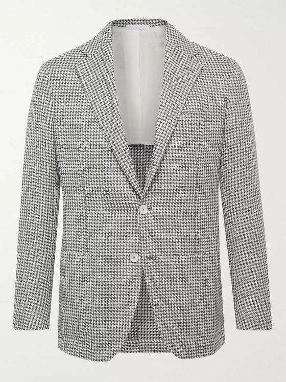De Petrillo Posillipo Slim-Fit Houndstooth Wool and Linen-Blend Blazer