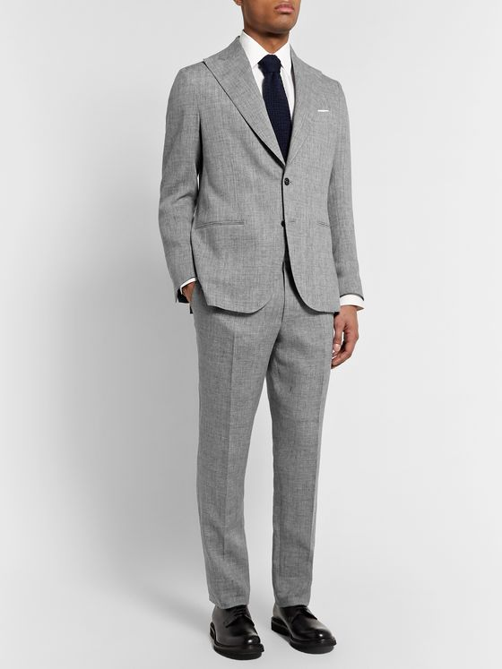 De Petrillo Mergellina Slim-Fit Mélange Linen Suit Jacket