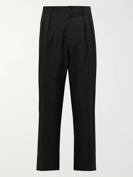 De Petrillo Wide-Leg Pleated Wool and Linen-Blend Suit Trousers