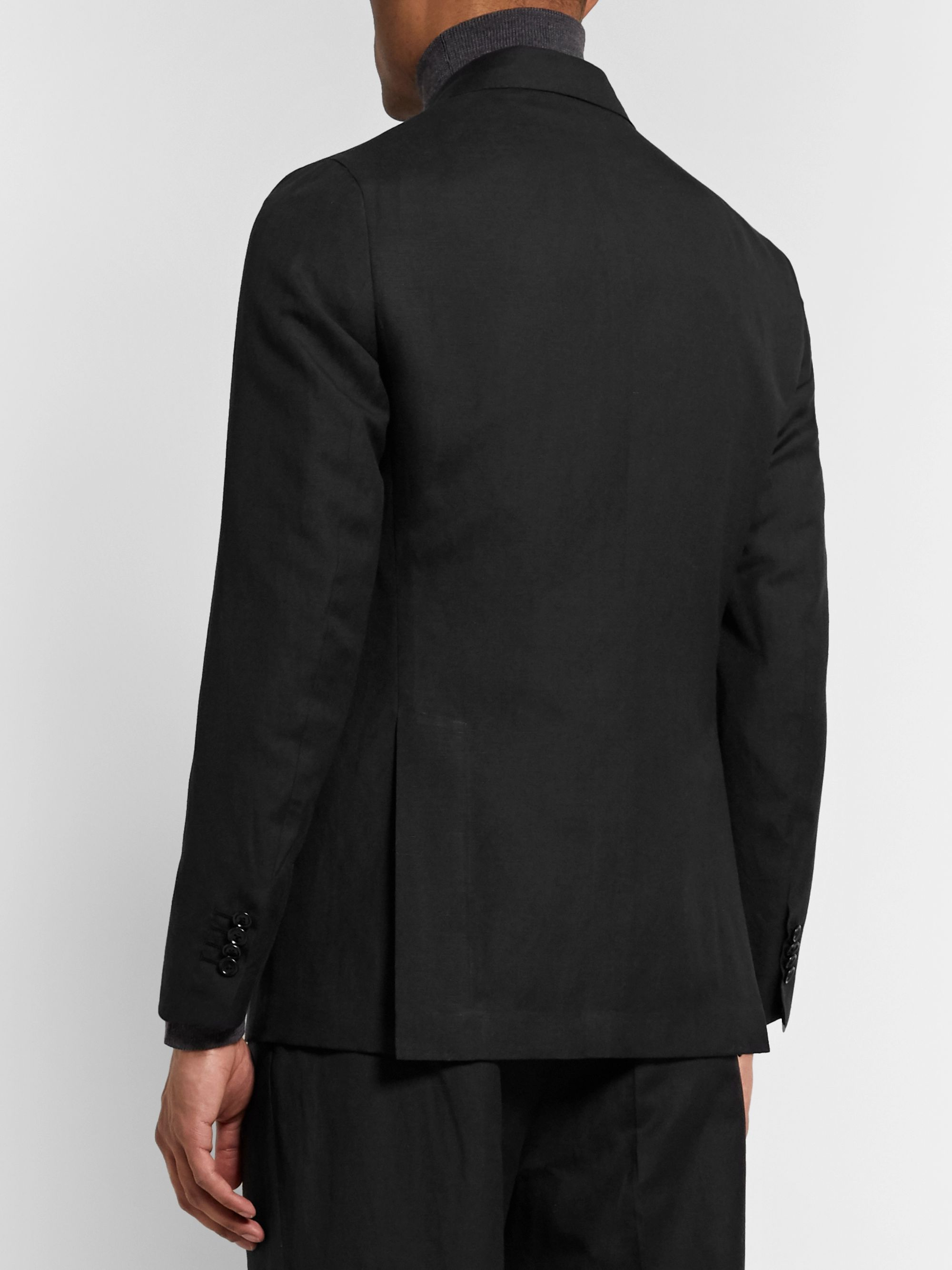 De Petrillo Slim-Fit Double-Breasted Wool and Linen-Blend Suit Jacket