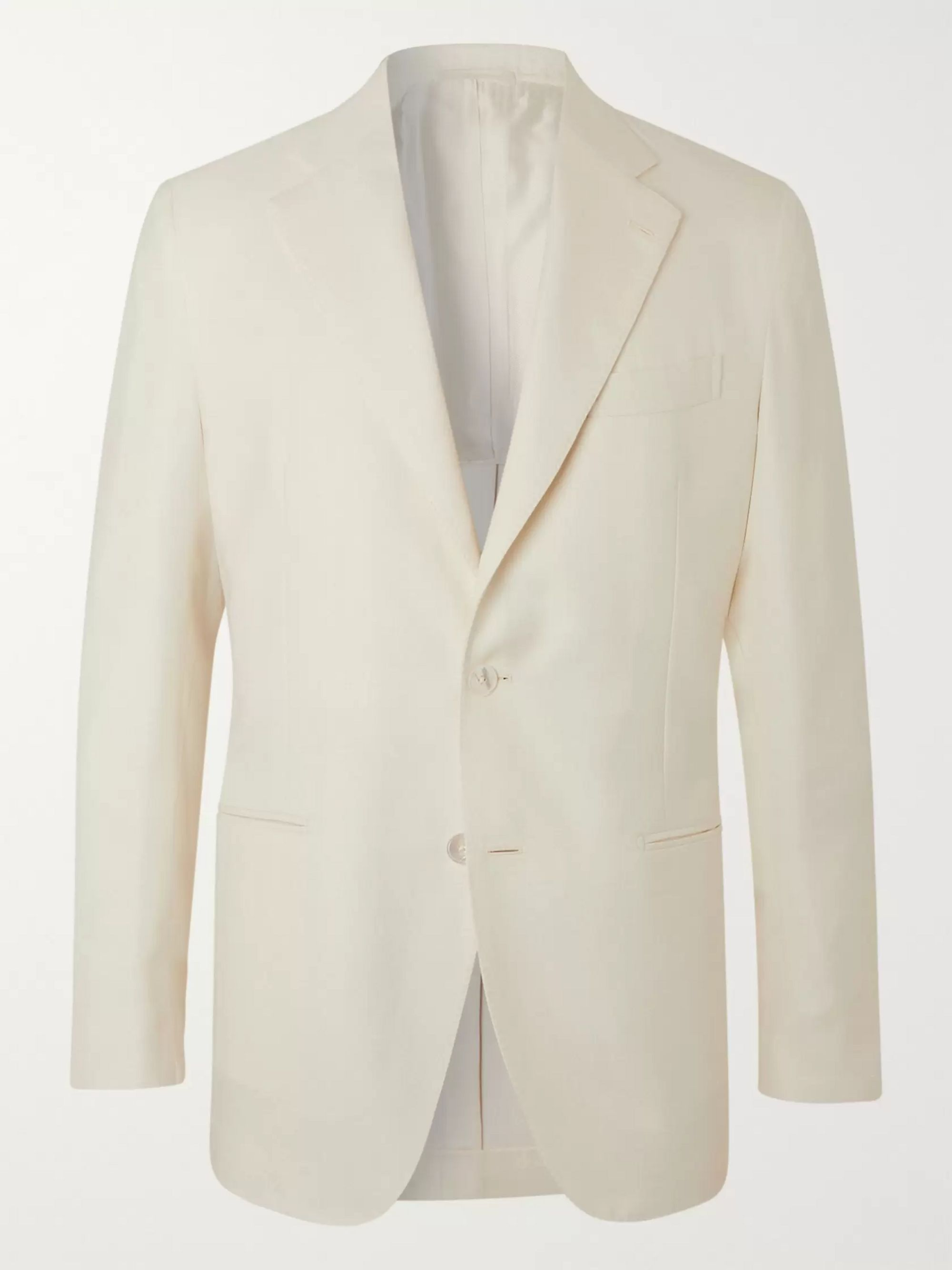 De Petrillo Slim-Fit Wool, Silk and Linen-Blend Suit Jacket