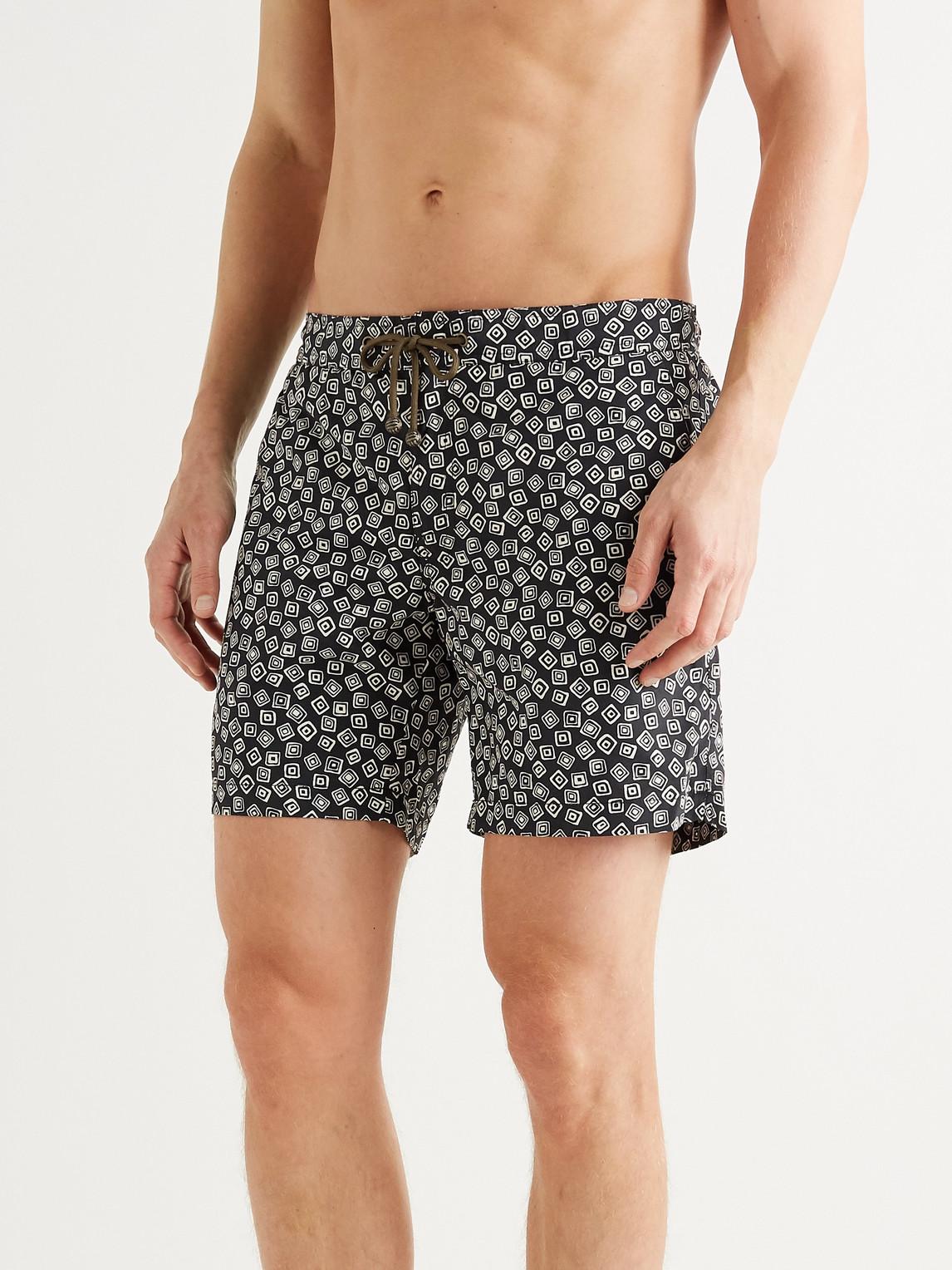 thorsun - charvet mid-length printed swim shorts - men - black - 30