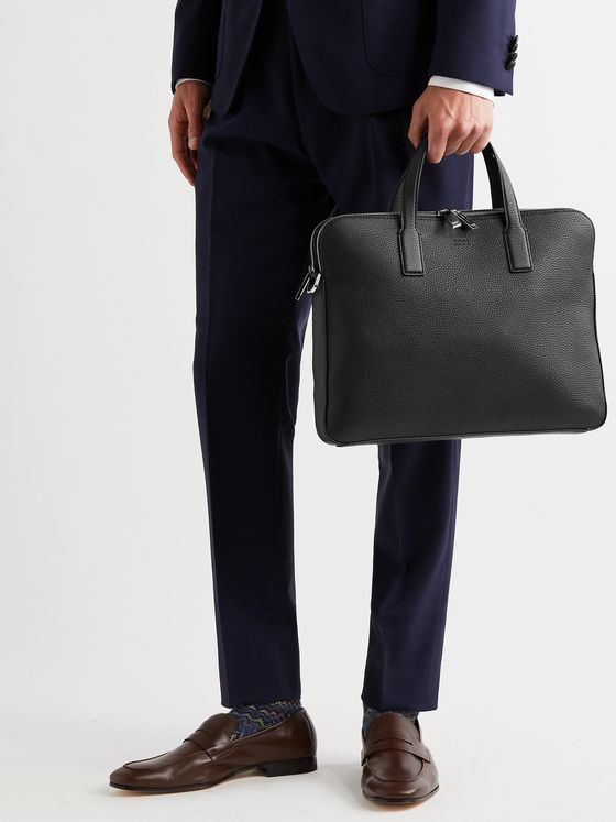 HUGO BOSS Crosstown Full-Grain Leather Briefcase