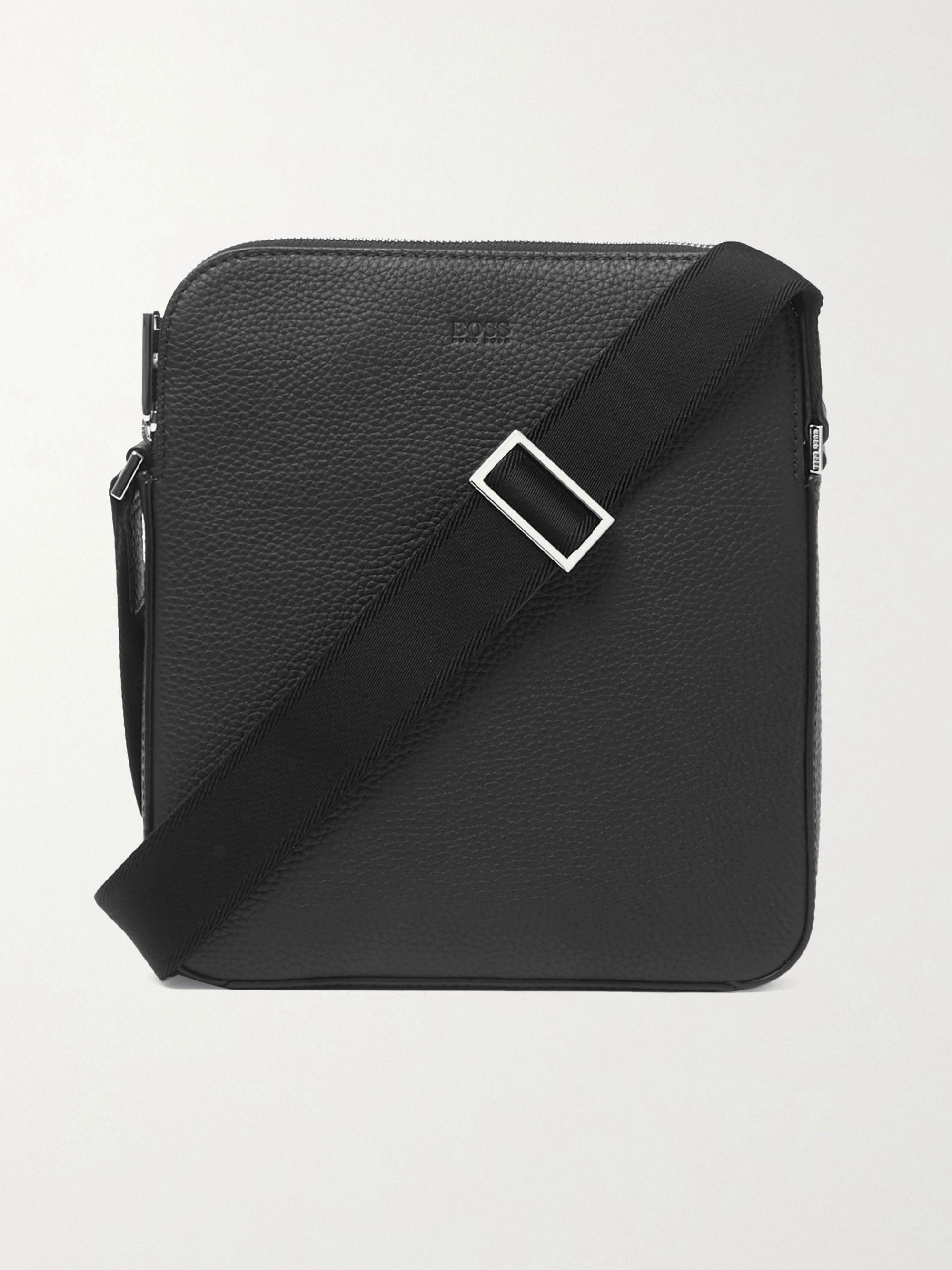 Hugo Boss Crosstown Full-Grain Leather Messenger Bag,Black