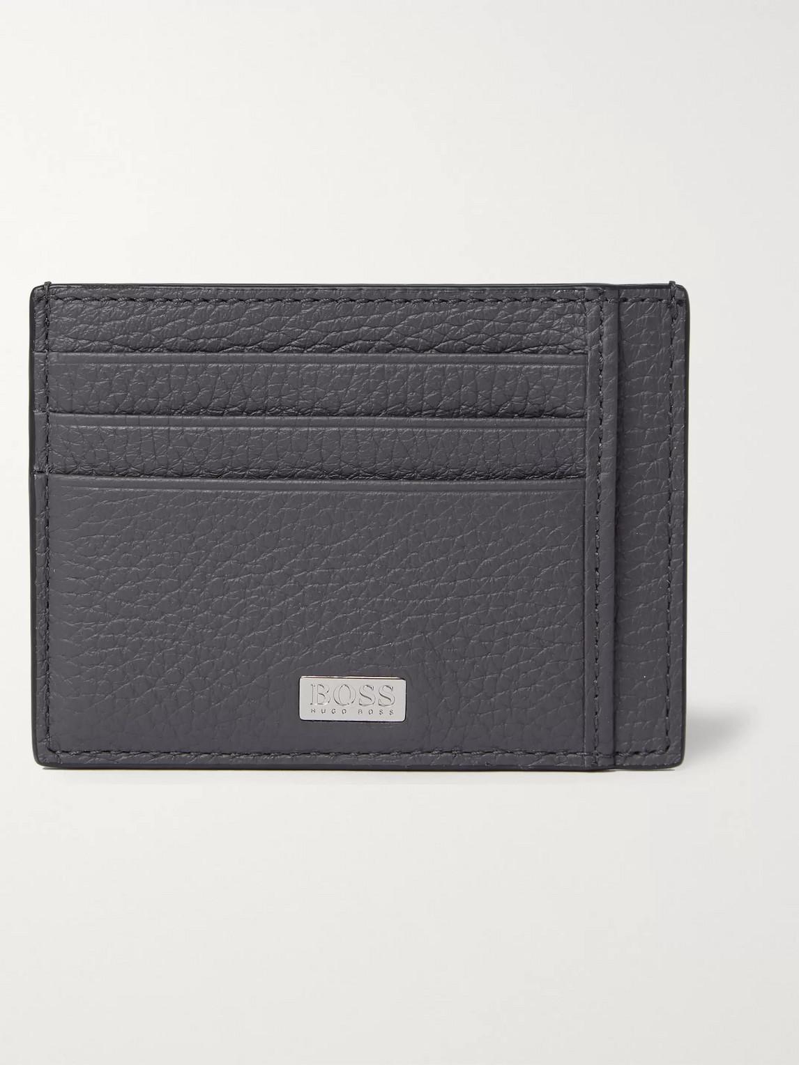 Hugo Boss Crosstown Full-grain Leather Cardholder In Gray