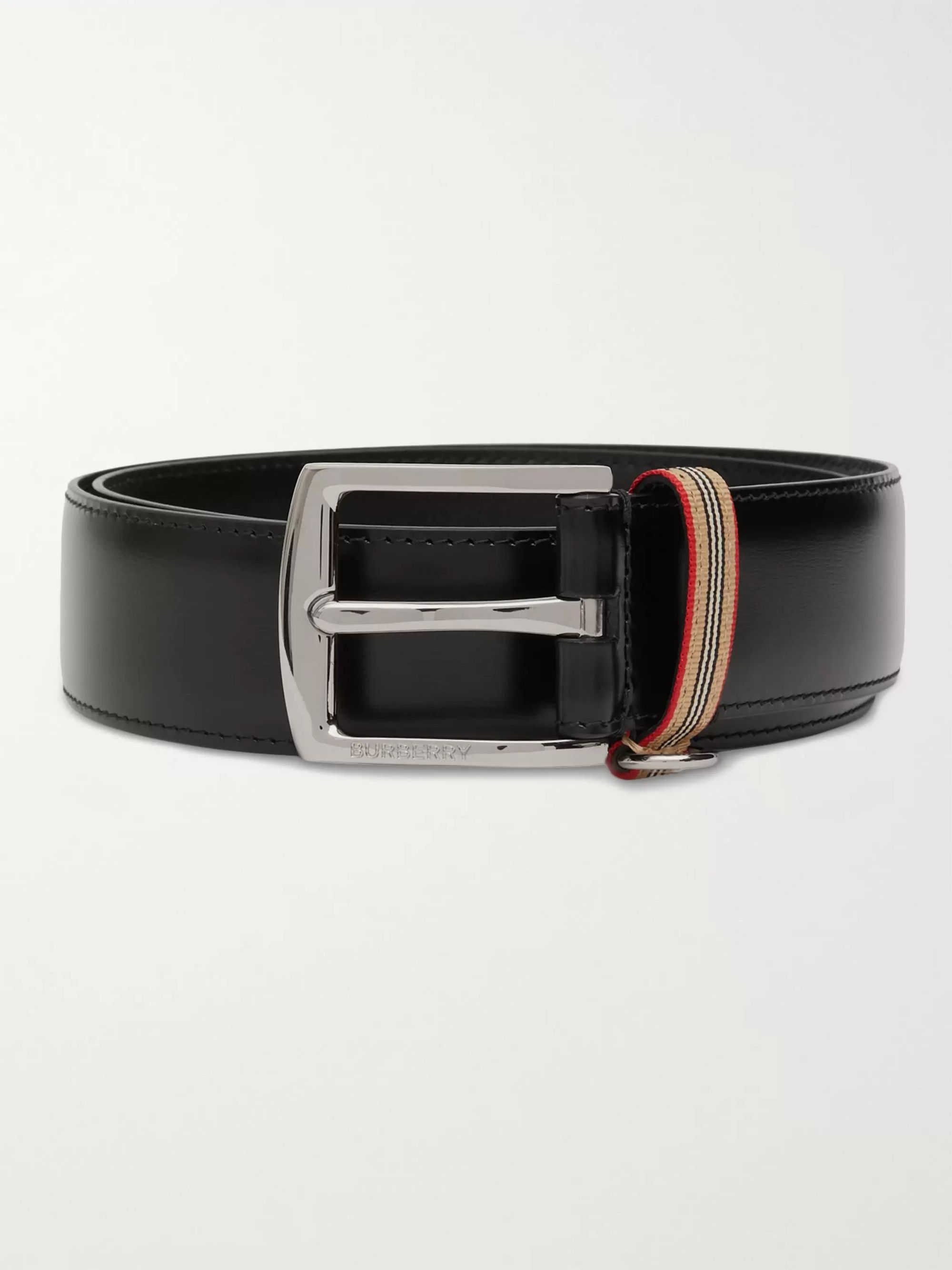 Burberry 3.5cm Striped Webbing-Trimmed Leather Belt