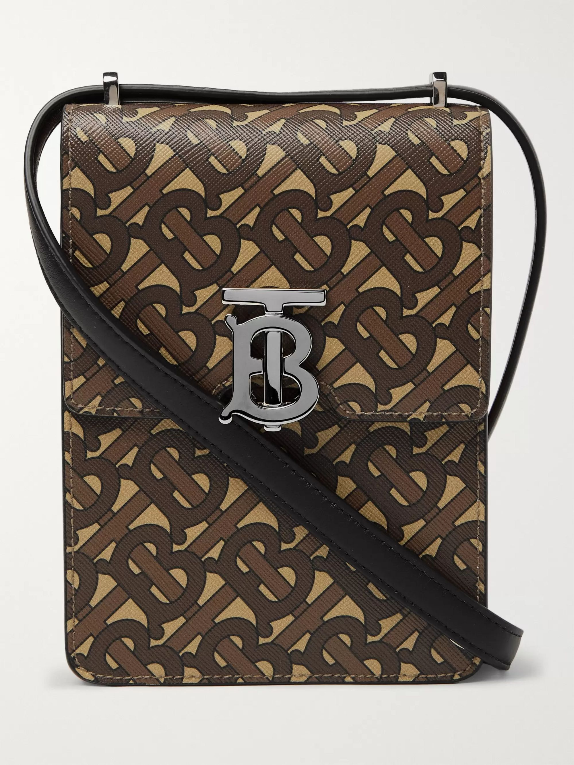 Burberry Leather-Trimmed Monogrammed Coated-Canvas Messenger Bag