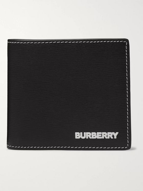 Burberry Logo-Appliquéd Textured-Leather Billfold Wallet