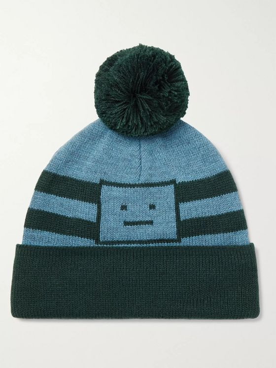 ACNE STUDIOS Logo-Jacquard Striped Knitted Beanie