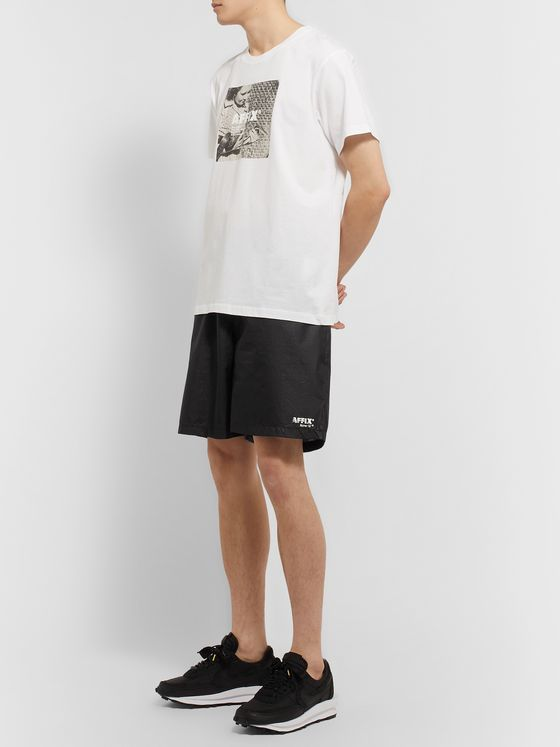 AFFIX Logo-Print Textured-Nylon Shorts