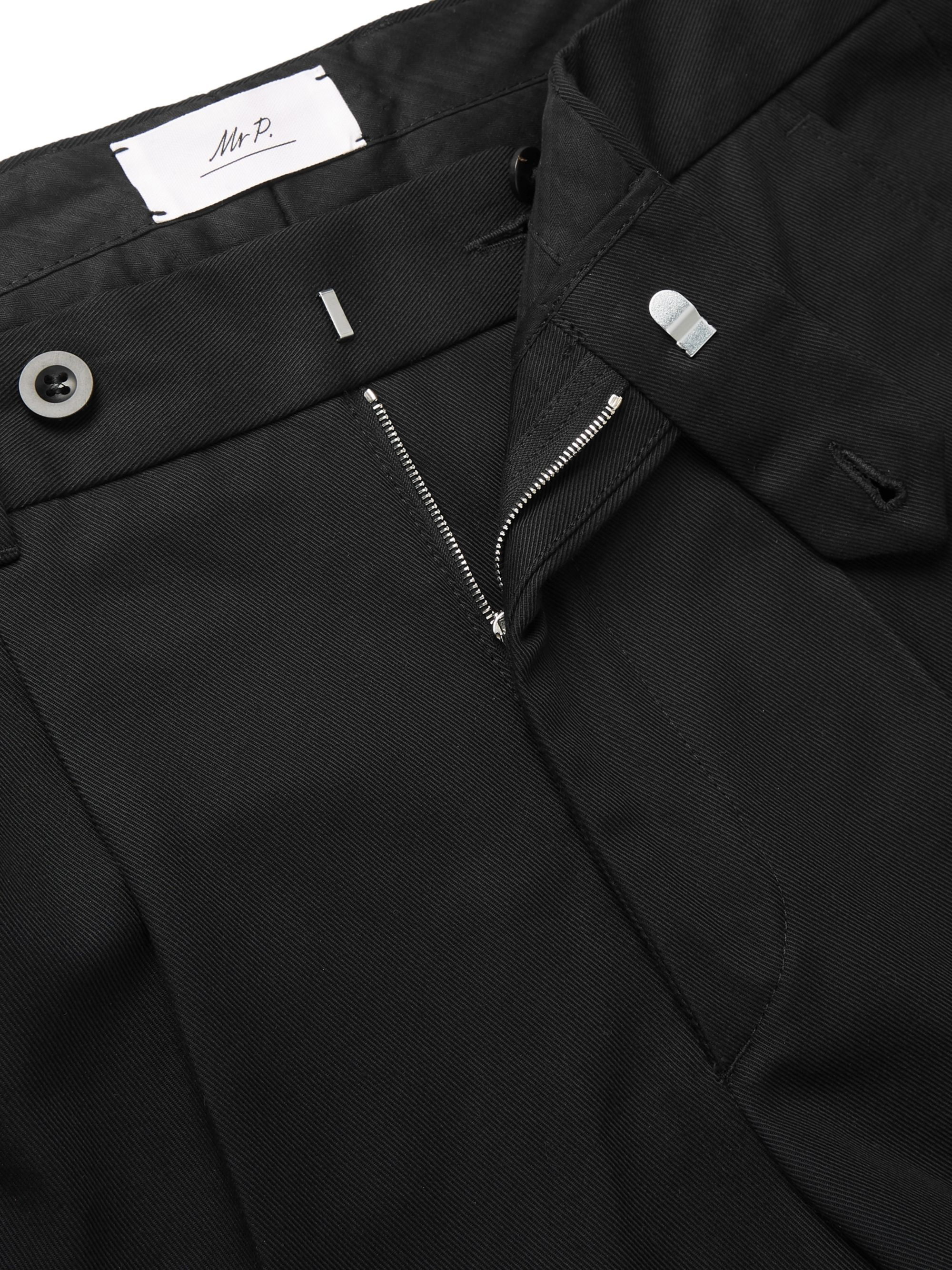 Mr P. Black Slim-Fit Tapered Pleated Cotton-Twill Trousers