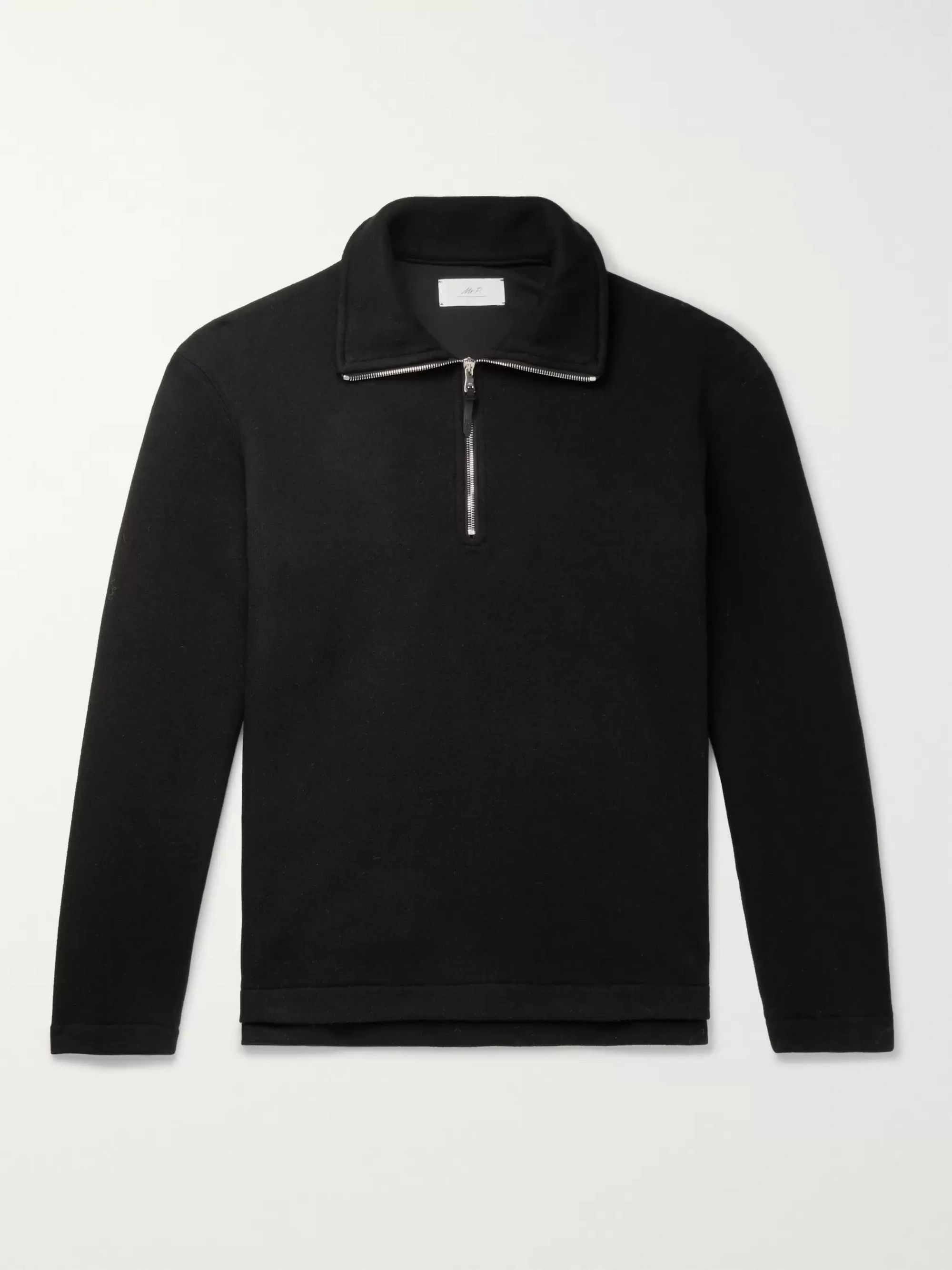 Mr P. Fleece-Back Wool-Blend Half-Zip Sweatshirt