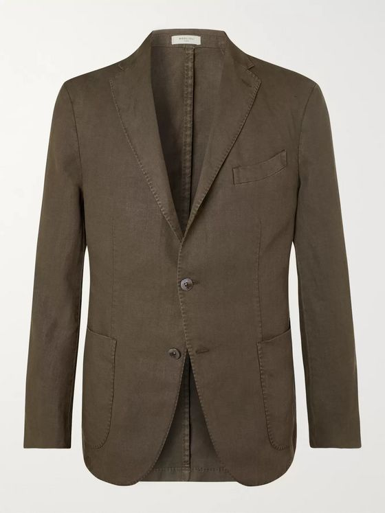 Boglioli Green K-Jacket Slim-Fit Unstructured Linen Suit Jacket