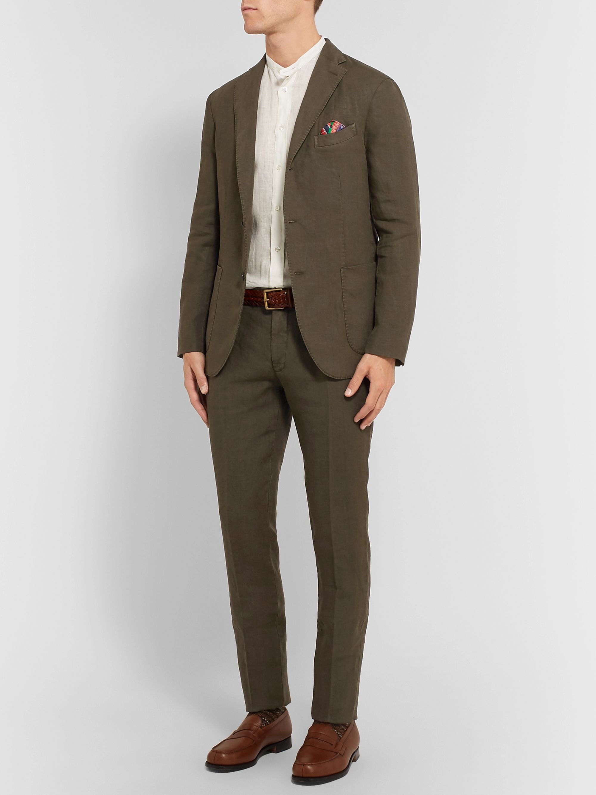 Boglioli Cream K-Jacket Slim-Fit Unstructured Linen Suit Jacket