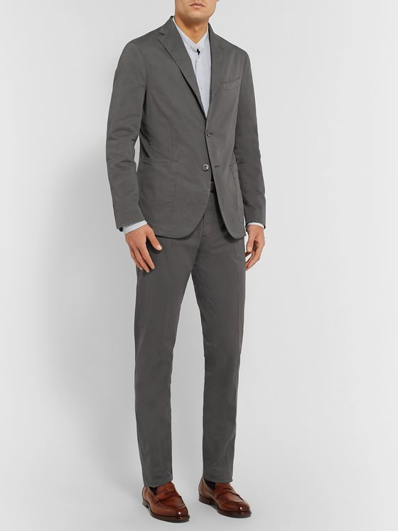 Boglioli Grey K-Jacket Slim-Fit Unstructured Cotton-Blend Twill Suit Jacket
