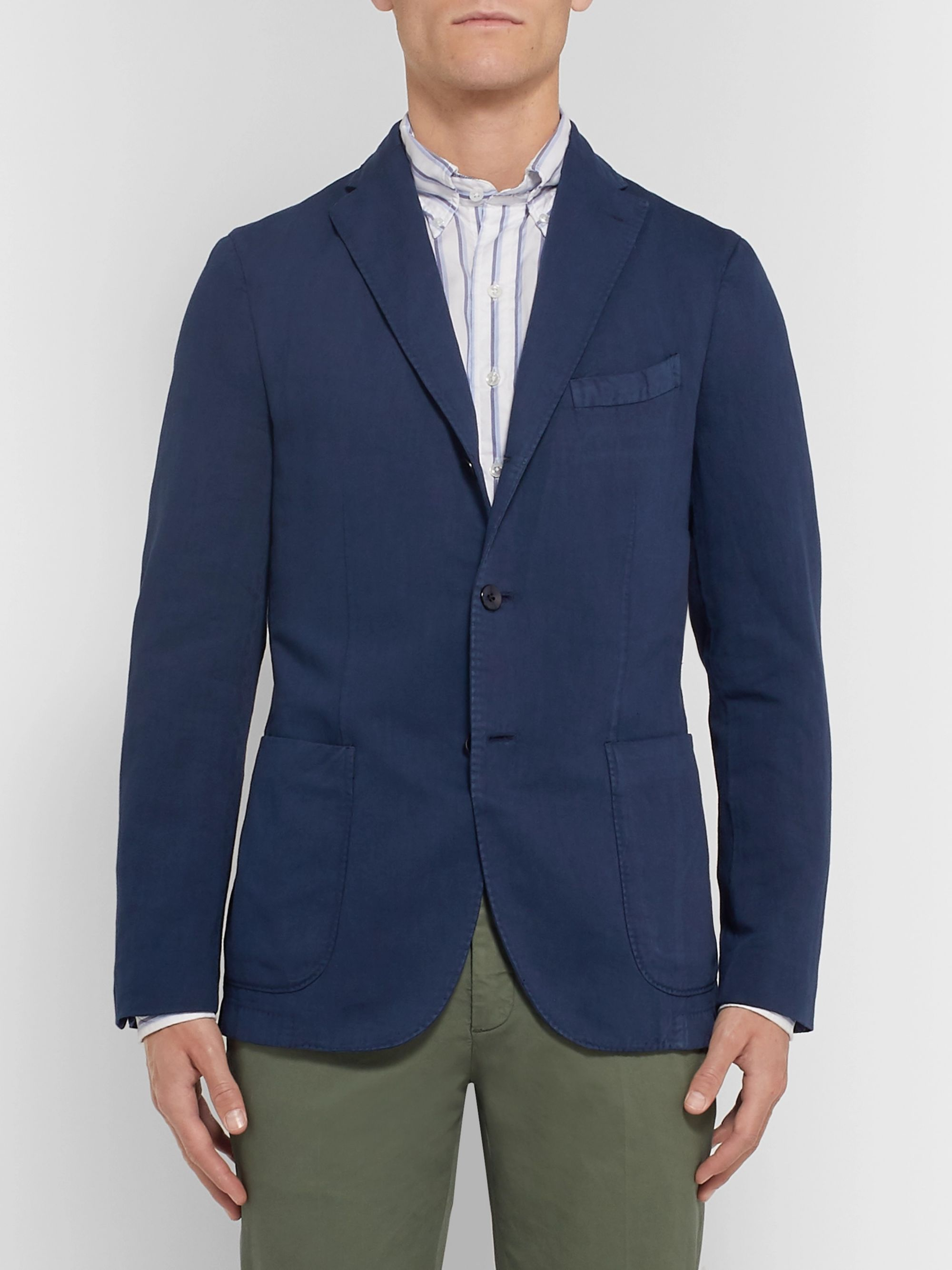 Boglioli Sand K-Jacket Slim-Fit Unstructured Stretch-Cotton Drill Blazer