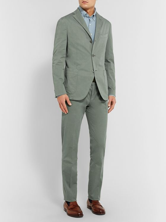 Boglioli Green K-Jacket Slim-Fit Unstructured Stretch-Cotton Twill Suit Jacket