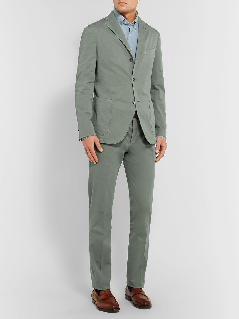 Boglioli Navy K-Jacket Slim-Fit Unstructured Stretch-Cotton Twill Suit Jacket