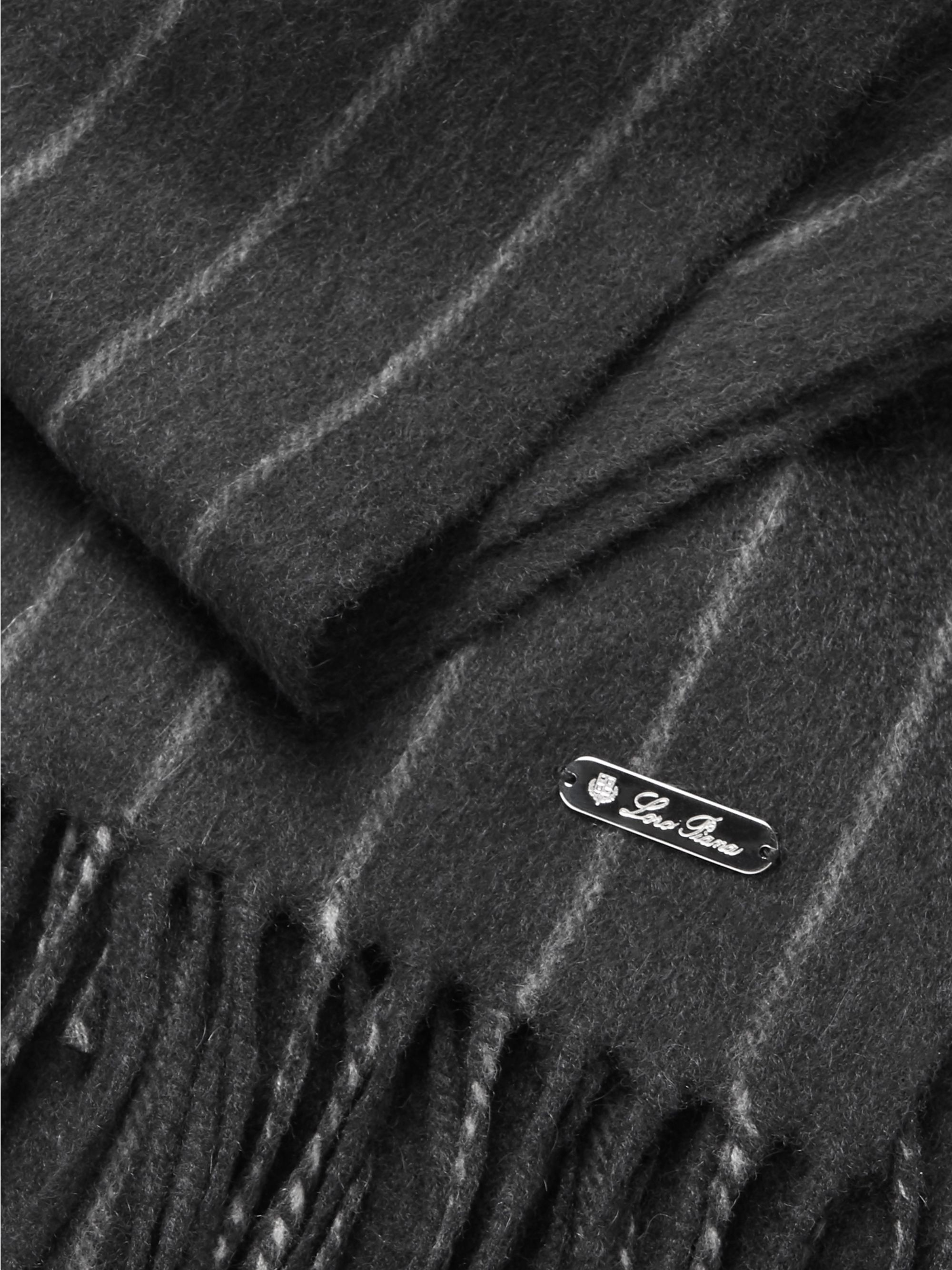 Loro Piana Striped Fringed Baby Cashmere Scarf