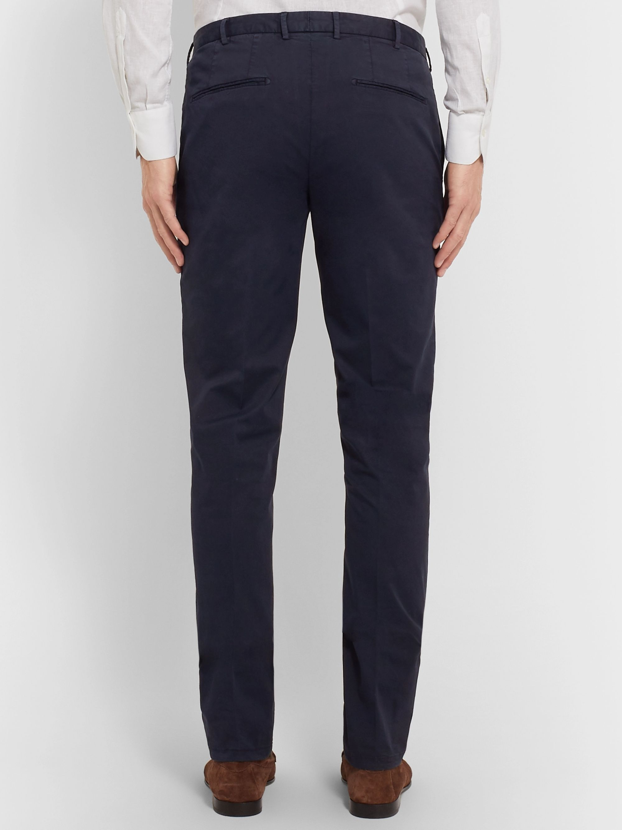 Boglioli Navy Stretch-Cotton Twill Suit Trousers
