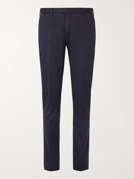 Boglioli Green Stretch-Cotton Twill Suit Trousers