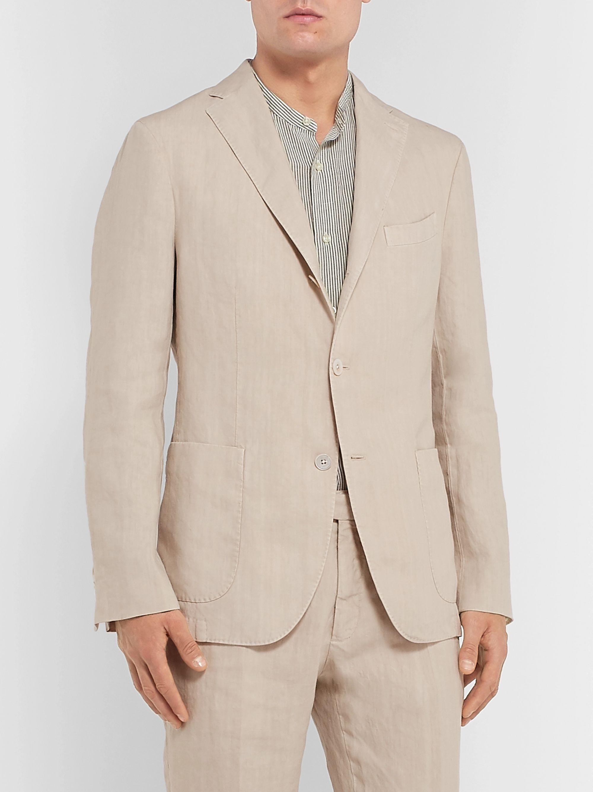 Boglioli Navy K-Jacket Slim-Fit Unstructured Linen Suit Jacket