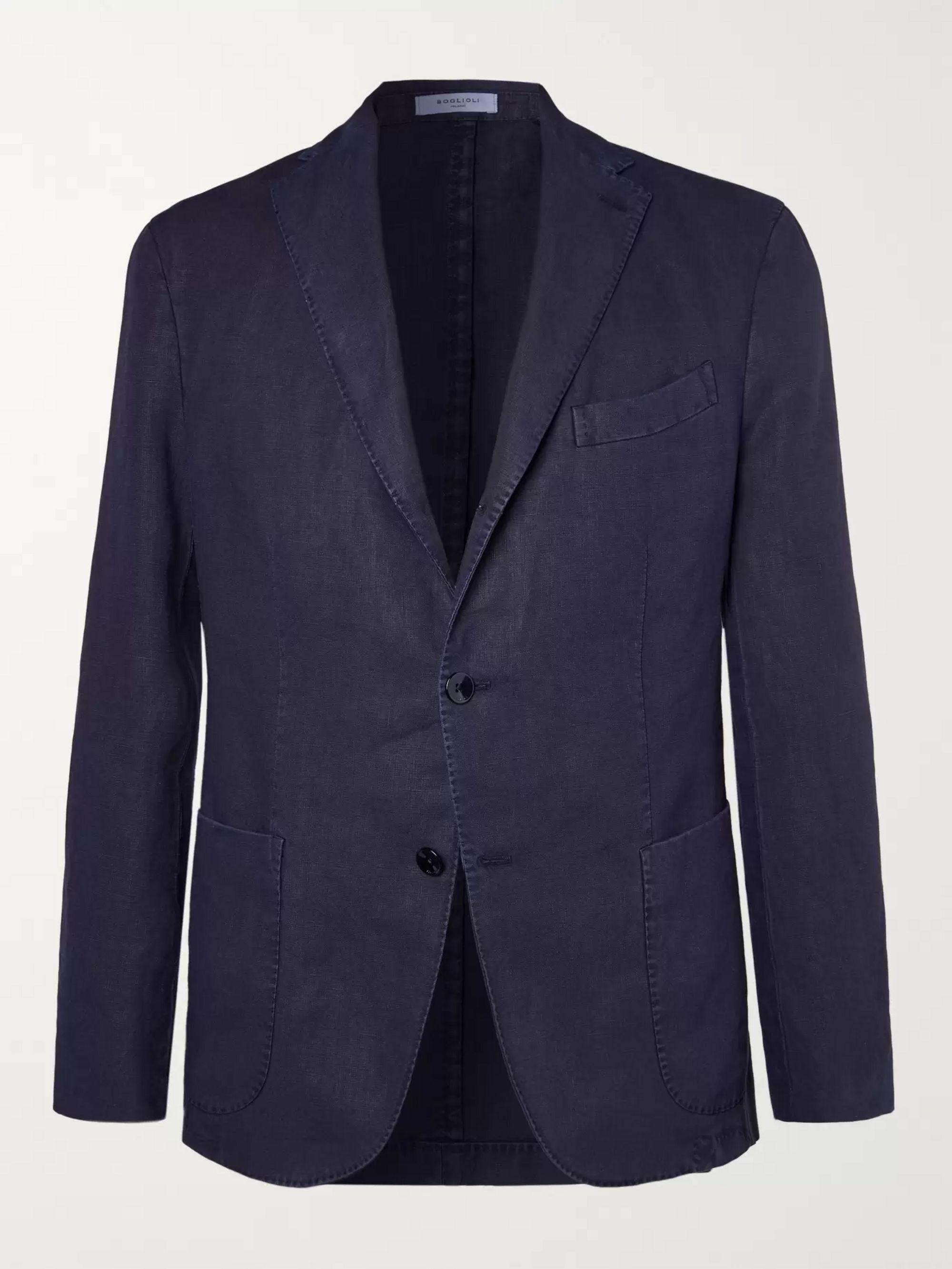 Green K Jacket Slim Fit Unstructured Linen Suit Jacket