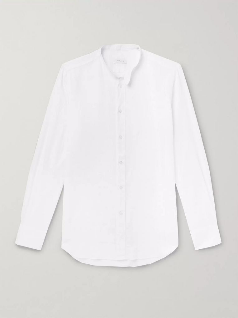 Boglioli Slim-Fit Grandad-Collar Linen and Cotton-Blend Shirt
