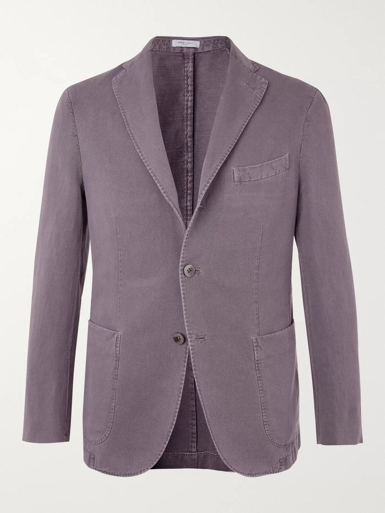 Boglioli Purple K-Jacket Slim-Fit Unstructured Cotton-Blend Drill Blazer
