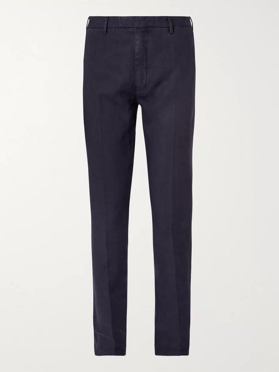 Boglioli Navy Slim-Fit Linen Suit Trousers