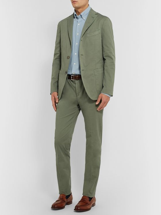 Boglioli Grey Slim-Fit Cotton-Blend Twill Suit Trousers