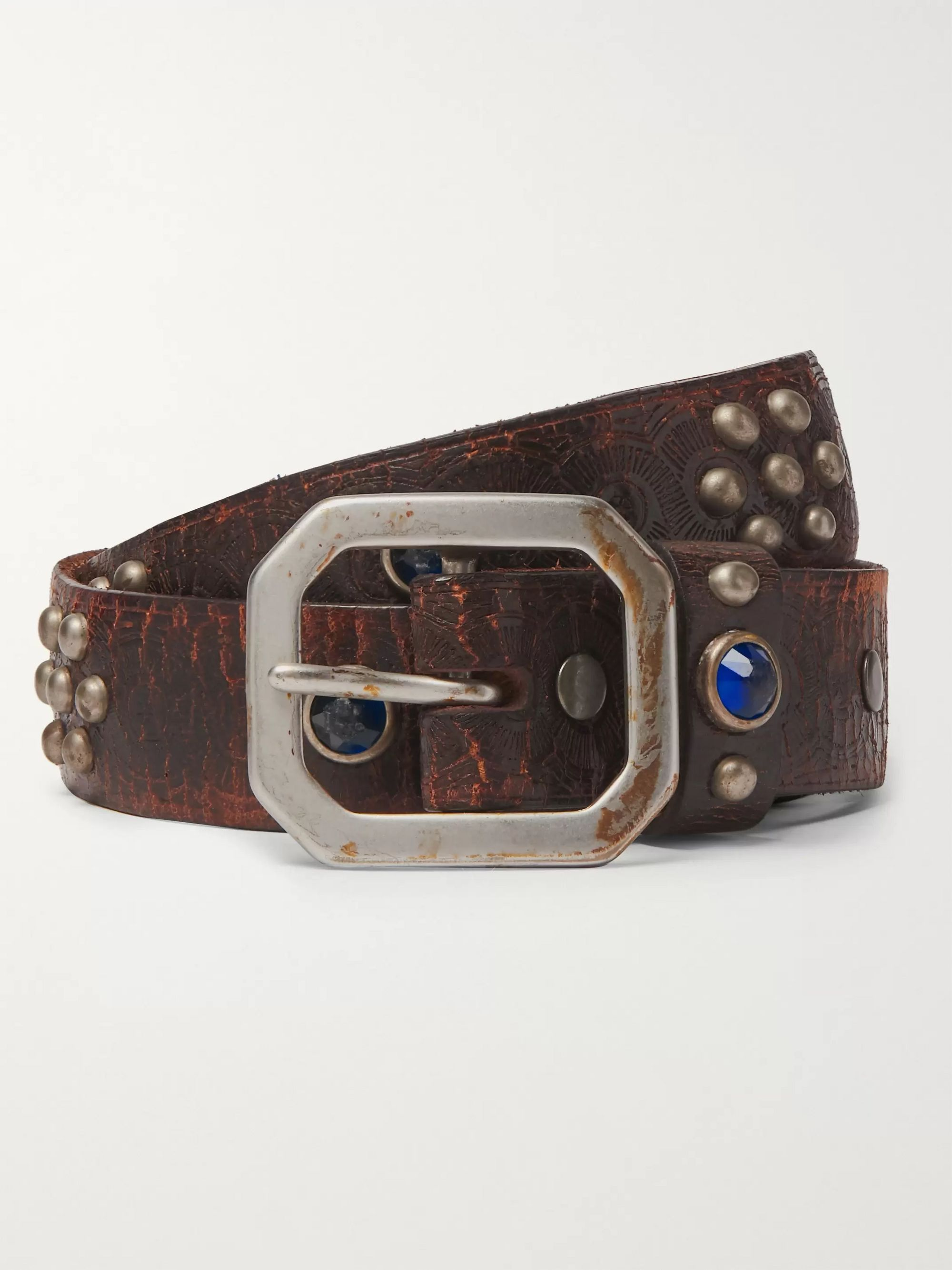 3cm Distressed Embellished Leather Belt by Rrl