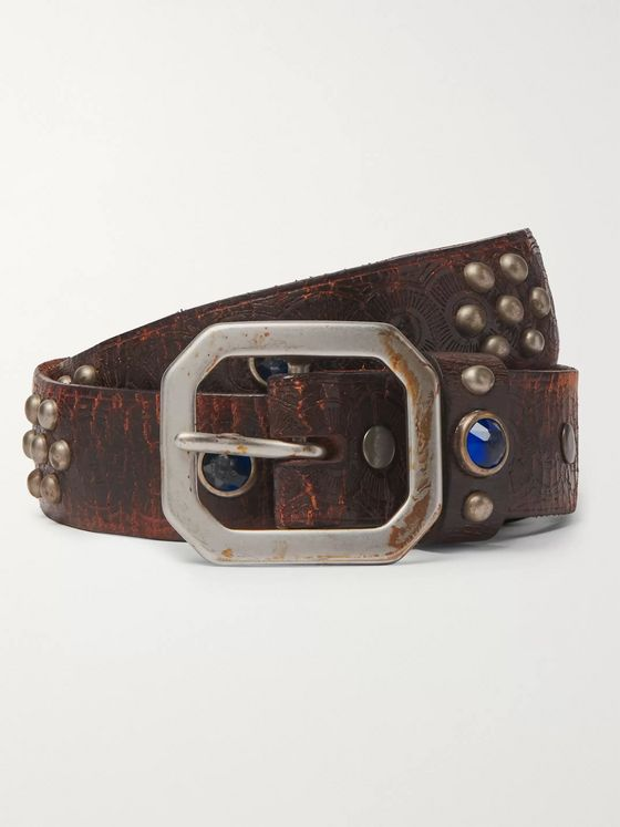 RRL 3cm Distressed Embellished Leather Belt