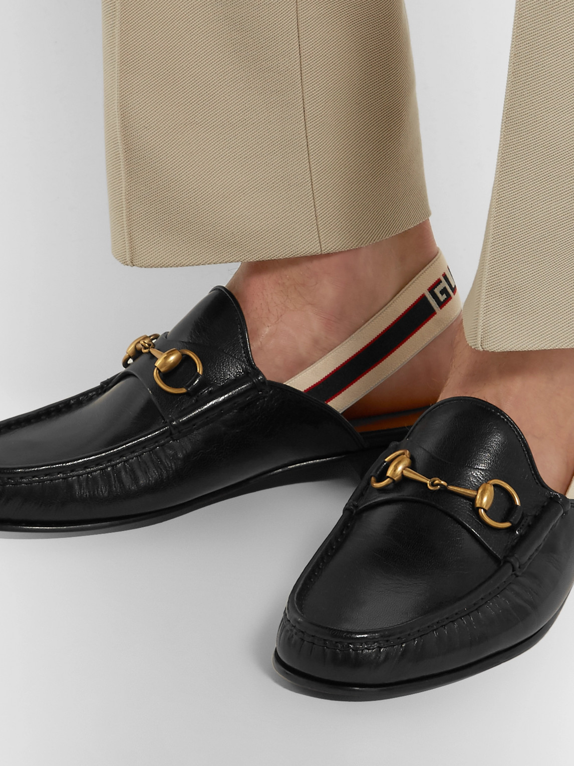 Gucci Loafers WEBBING-TRIMMED LEATHER BACKLESS LOAFERS