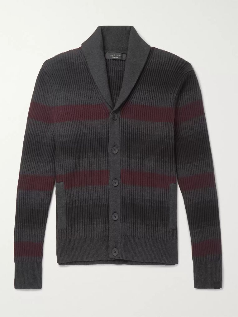 rag & bone Shawl-Collar Striped Ribbed Cotton and Cashmere-Blend Cardigan
