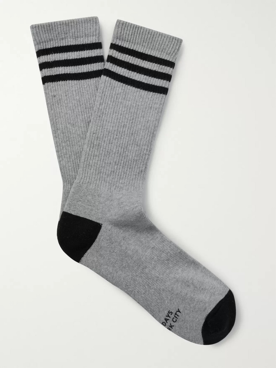 Saturdays NYC Striped Ribbed Stretch Cotton-Blend Socks